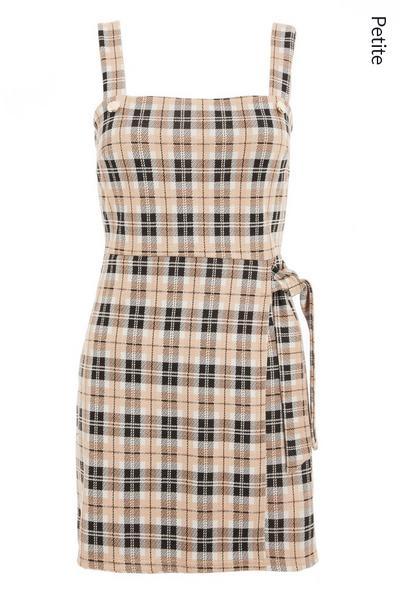 Petite Stone Check Pinafore Dress